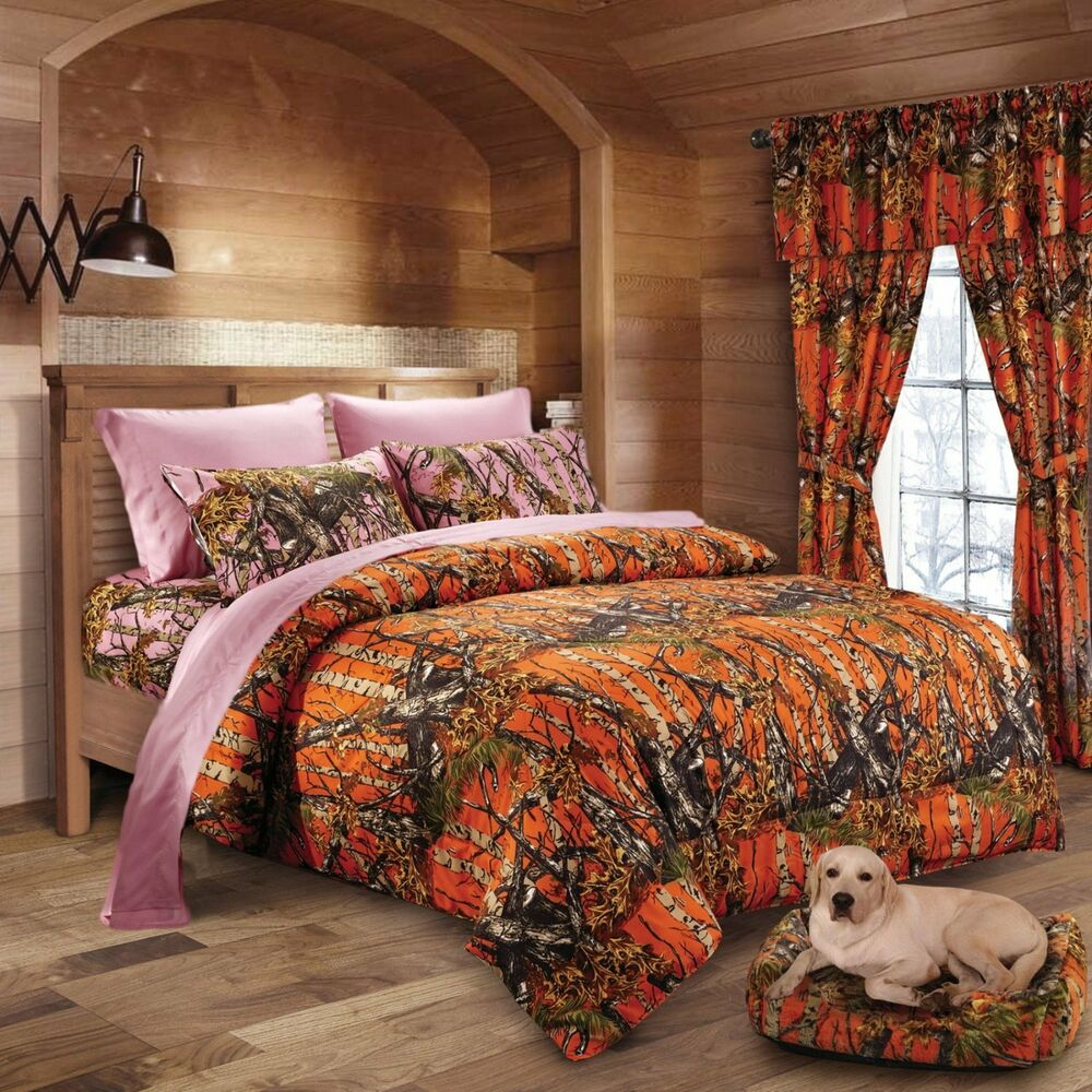 7 Pc Orange Camo Comforter With Pink Sheet Set Queen Set