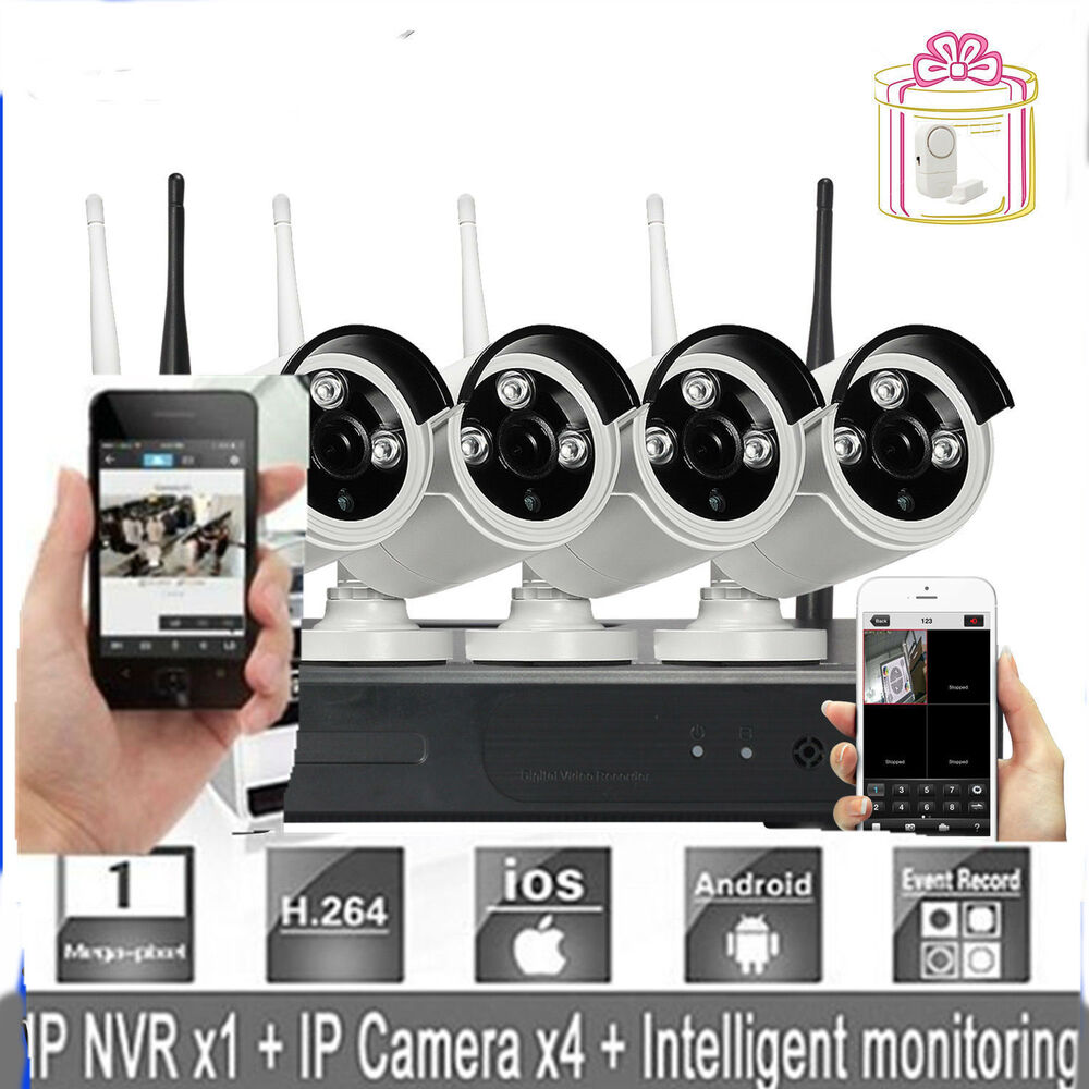 wireless ip camera 4ch 720p hd wifi nvr outdoor network. Black Bedroom Furniture Sets. Home Design Ideas
