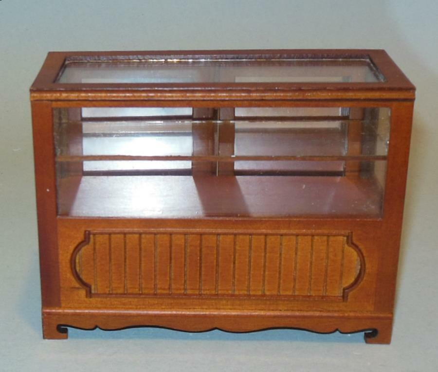 BESPAQ WALNUT SHOW CASE DOLLHOUSE FURNITURE MINIATURES ON