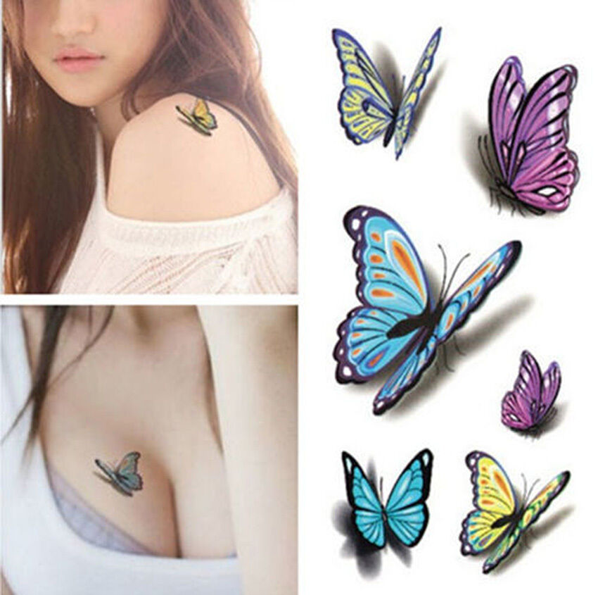 3d temporary tattoo waterproof removable butterfly for Temporary tattoo sticker