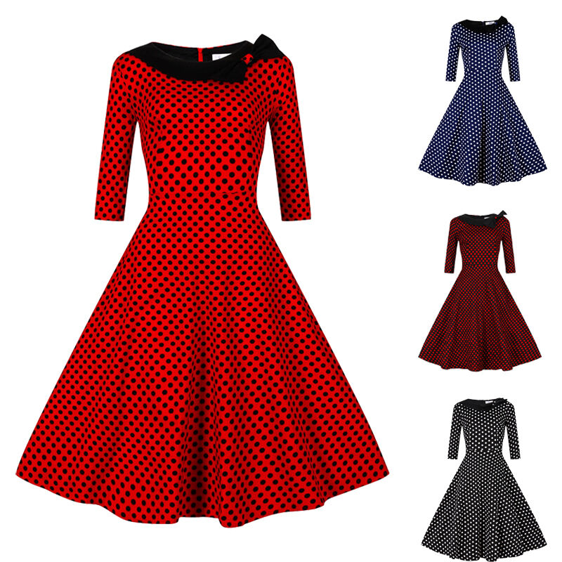 women 50 39 s 60 39 s dress vintage style swing pinup housewife party dress plus size ebay. Black Bedroom Furniture Sets. Home Design Ideas