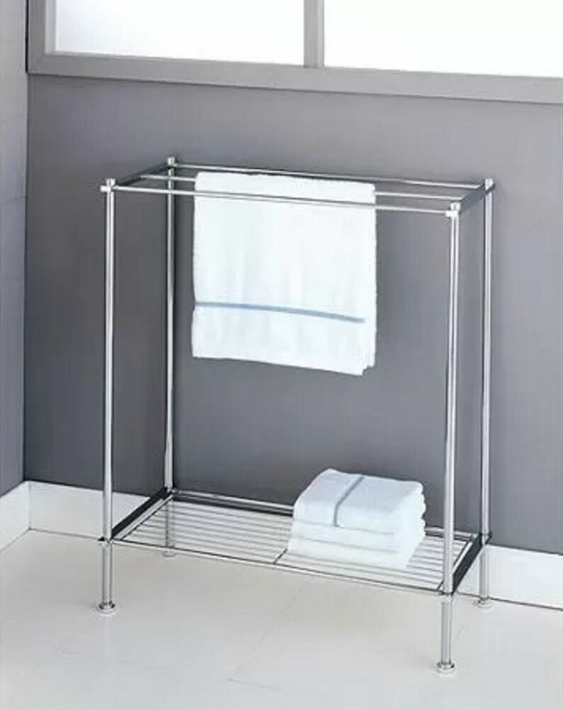 Free Standing Chrome Metro 3 Bar Bathroom Towel Holder Rack With Shelf Storage Ebay