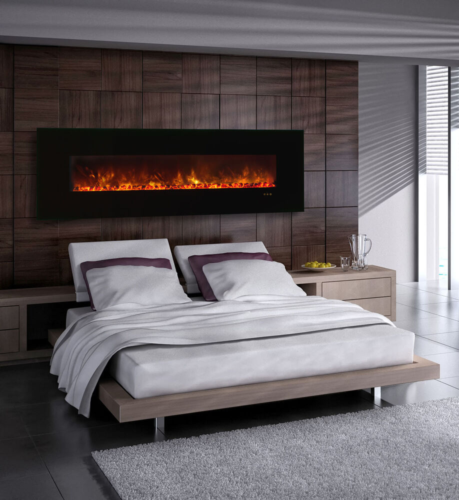 Modern Flames Al80clx G Wall Mount Built In Electric Fireplace With Black Glass Ebay