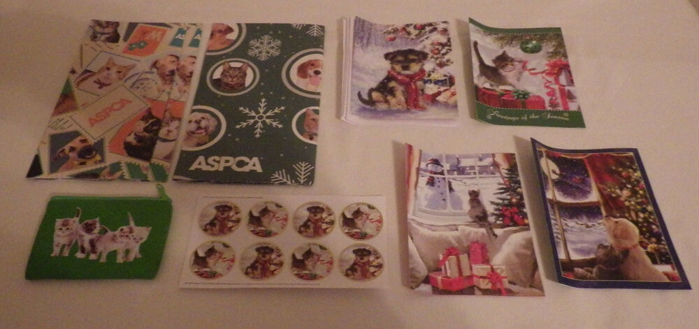 Aspca Cats Dogs Gift Wrap Coin Purse Stickers 4 Christmas Cards | eBay
