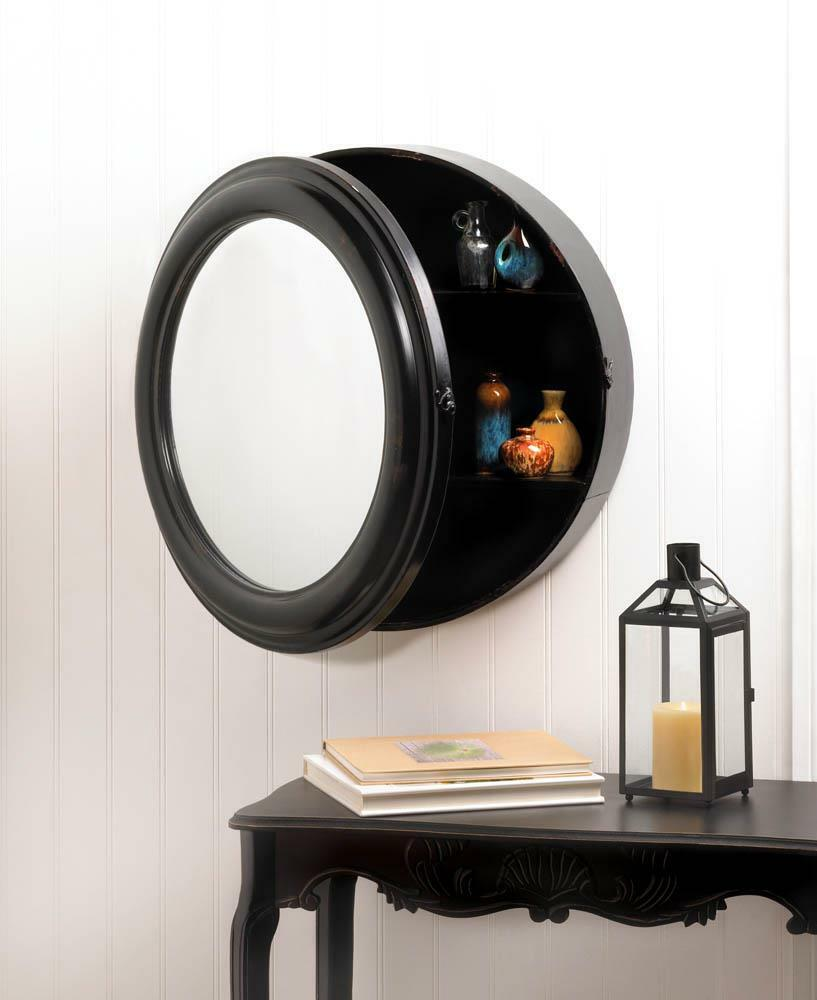 Shabby Metal Round Black 24 Quot Wall Mirror Medicine Cabinet