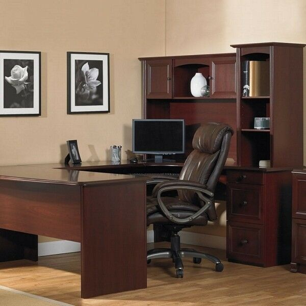 New U Shaped Office Executive Desk With Hutch Cherry L