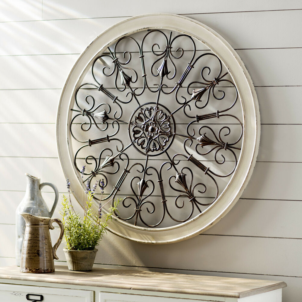 White round wrought iron wall decor rustic scroll antique for Antique wall decor