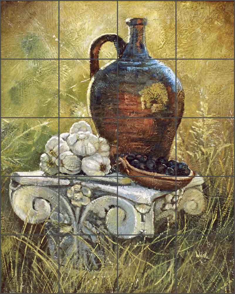 Ceramic tile mural backsplash davenport wine jug art pov for Artwork on tile ceramic mural