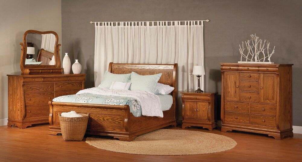 Luxury amish chippewa sleigh traditional bedroom set solid wood full queen king ebay - Amish bedroom furniture ...