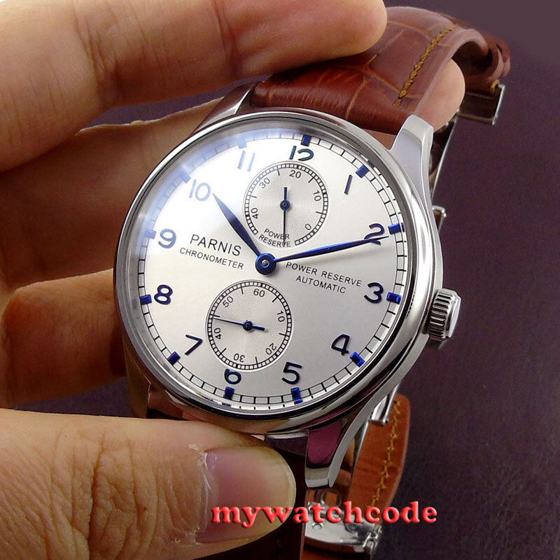 43mm parnis silver dial power reserve st2542 automatic movement men 39 s watch p99b ebay for Auto movement watches