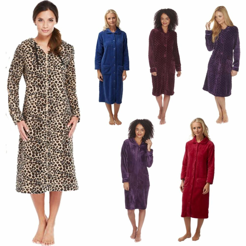 Dressing Gowns And Robes: Ladies Zip/Button Front Soft Fleece Hooded Long Dressing