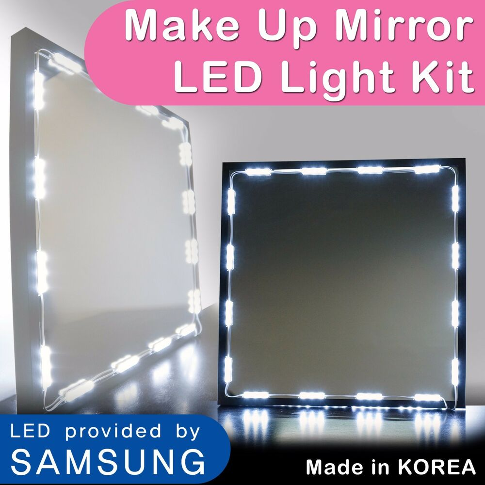 hollywood lighted makeup mirror led light kit with dimmer led vanity light 12ft ebay. Black Bedroom Furniture Sets. Home Design Ideas