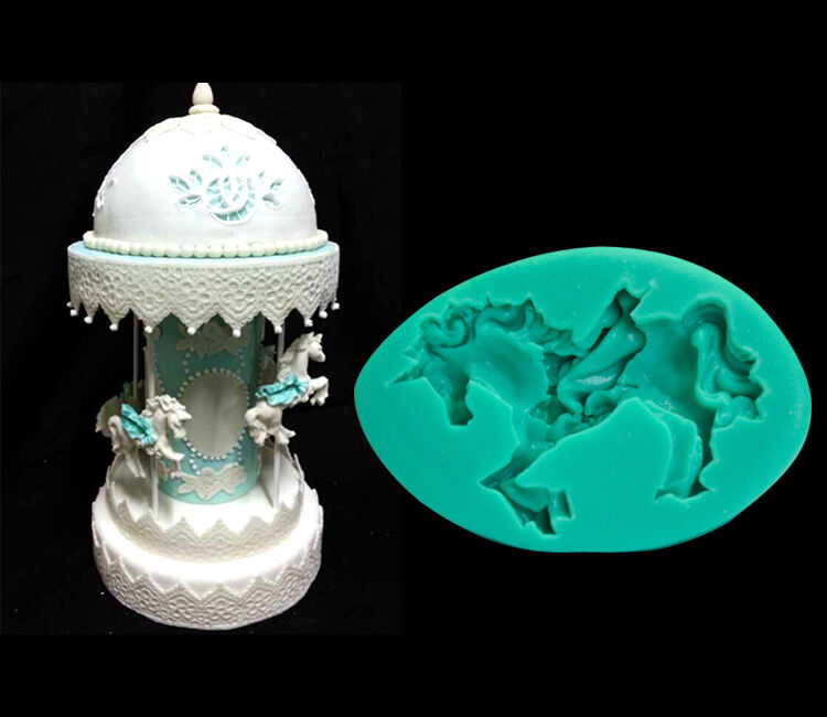 Cake Decorating Carousel : Silicone Carousel Horse Fondant Mold Cake Decorating ...