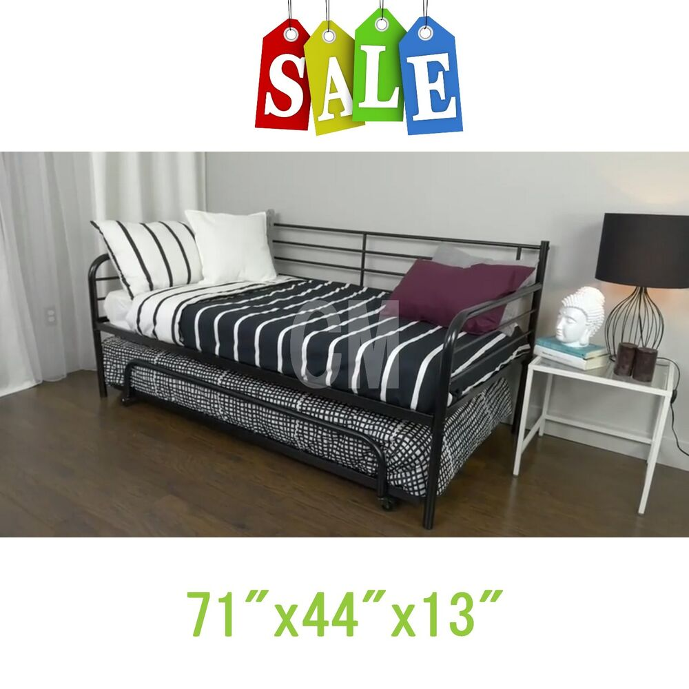 Black trundle guest kids bed metal frame twin size for Twin size childrens bed frames
