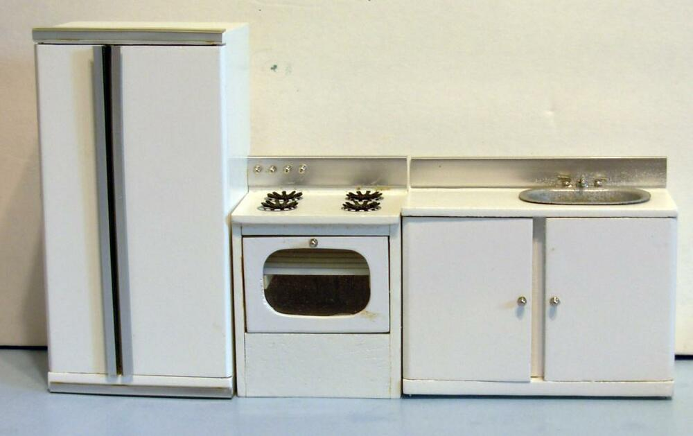 3 pc modern kitchen set dollhouse furniture miniatures ebay