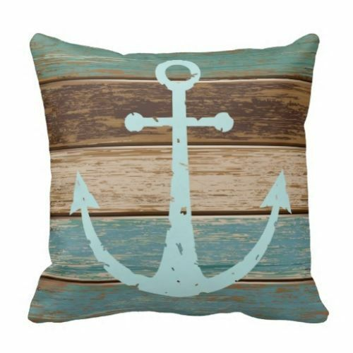Nautical Throw Pillow Cases : Nautical Anchor Weathered Wood Coastal Themed Throw Pillow Case Home Decor 18 eBay