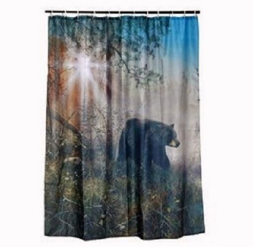 Black bear shower curtain set cabin hunting outdoor for Hunting bathroom accessories