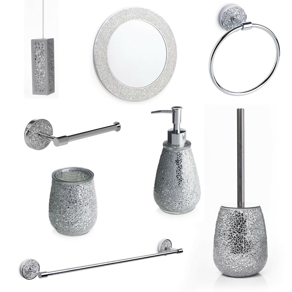 Silver mosaic bathroom accessories silver sparkle mirror for Grey silver bathroom accessories