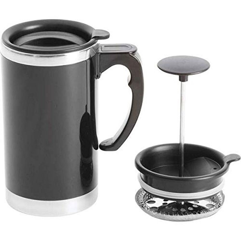 21 oz stainless steel double wall french press coffee mug tea cup maker travel ebay. Black Bedroom Furniture Sets. Home Design Ideas