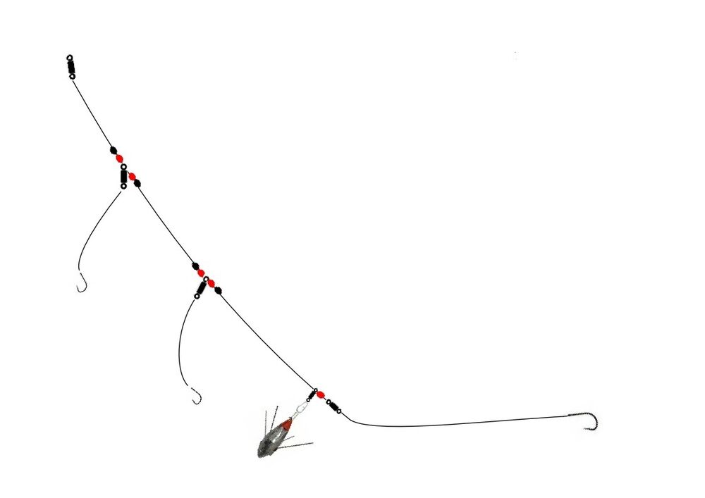 4 x wessex rig sea fishing tackle bass cod ebay for Cod fishing rigs