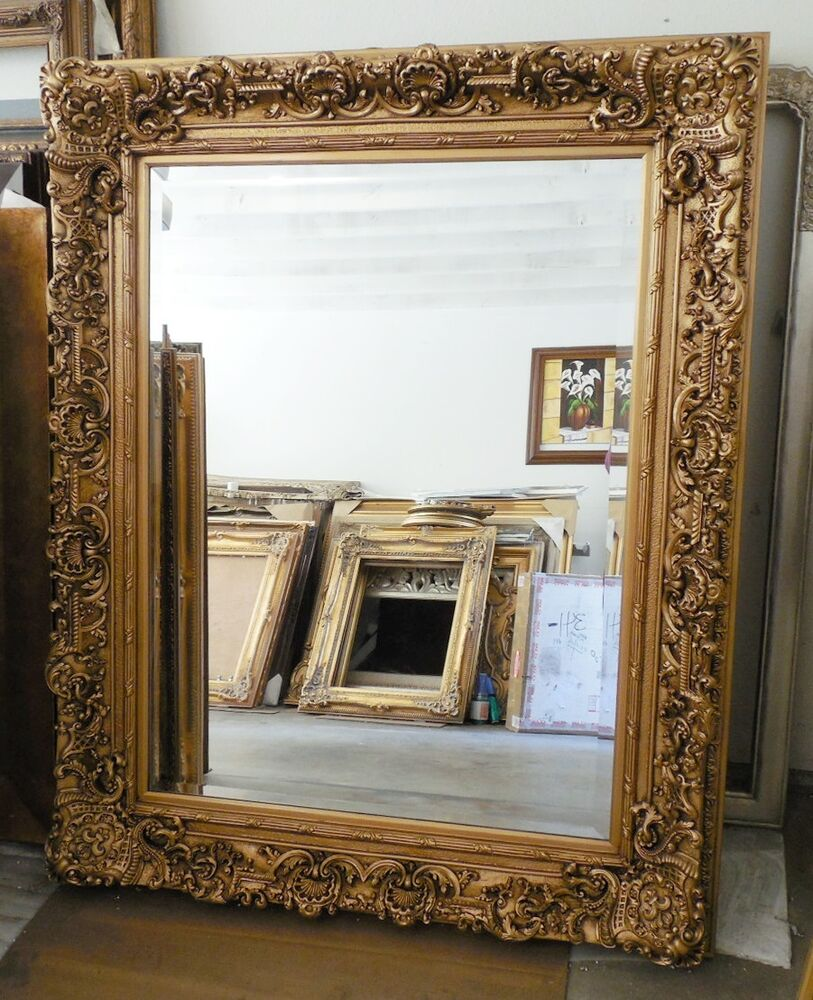 Large wood resin louis xiv 51x63 rectangle beveled for Large framed mirrors