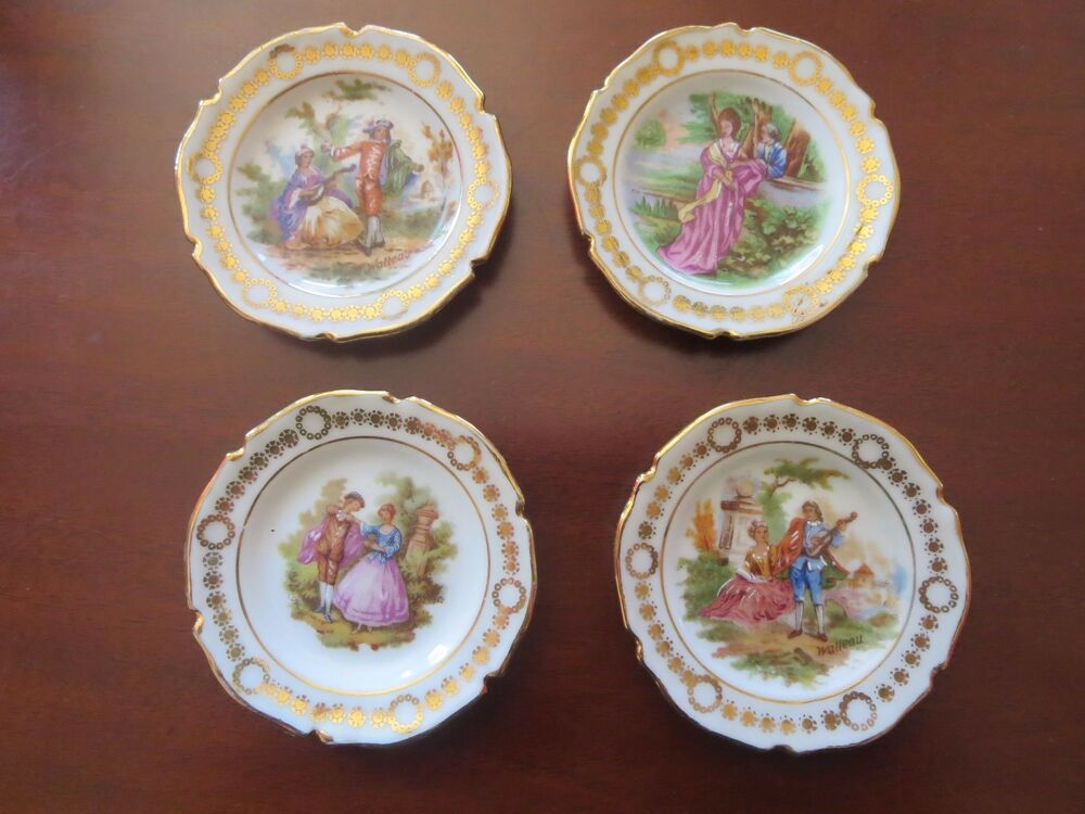 4 vtg limoges scalloped hand painted miniature fragonard and watteau plates ebay. Black Bedroom Furniture Sets. Home Design Ideas