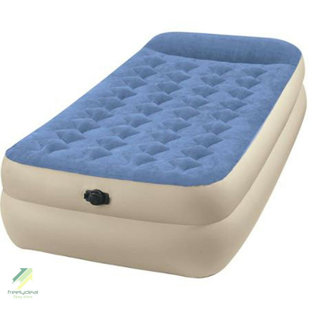 Intex Twin Raised Pillow Rest Airbed Mattress Camping Guests Spare Air Bed Ebay