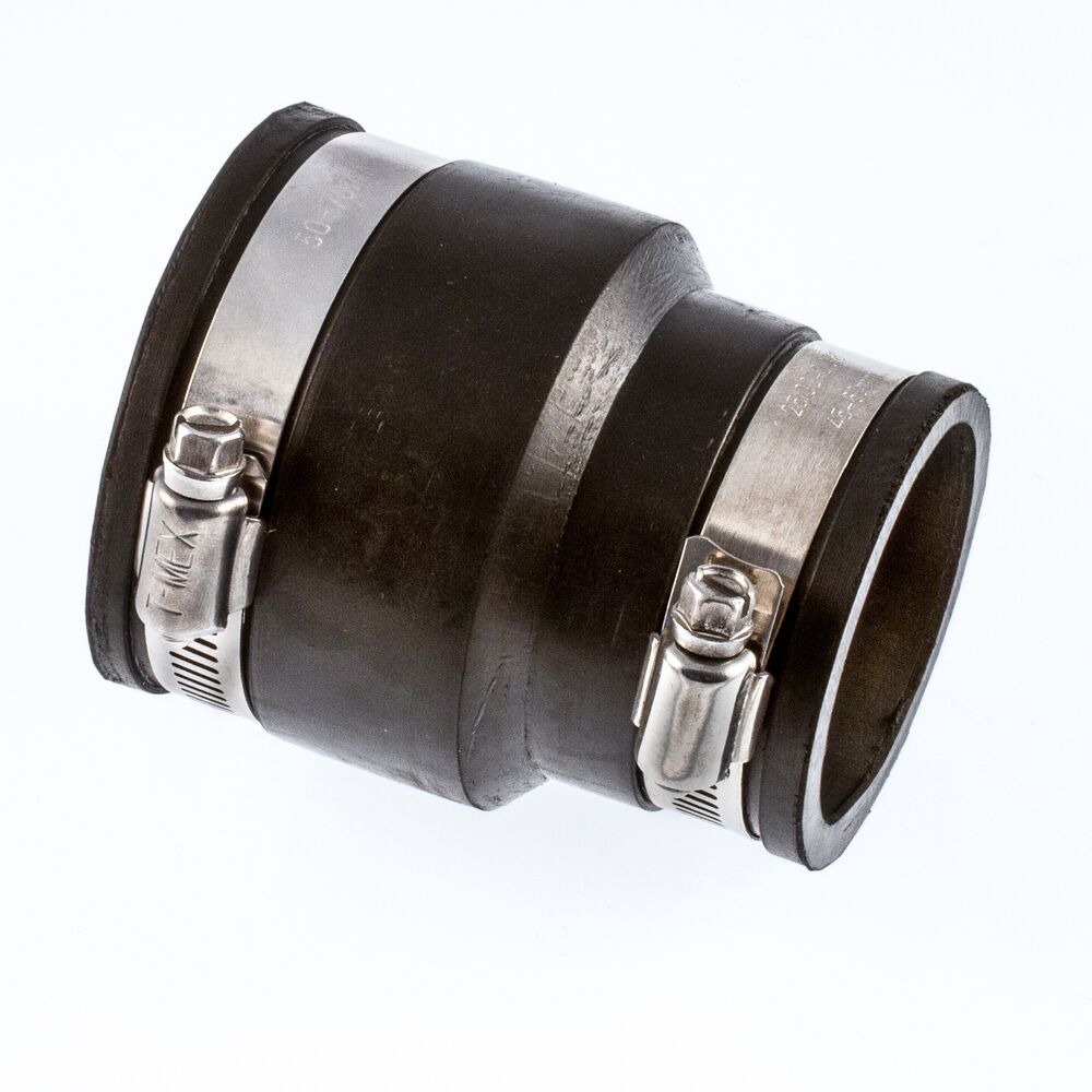 Flexible rubber boot reducer coupling adaptor pipe