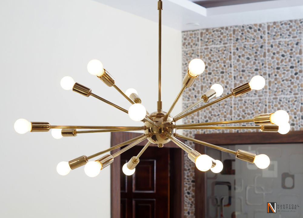 Detail classic mid century modern polished brass sputnik atomic chandelier star ebay - Light fixtures chandeliers ...