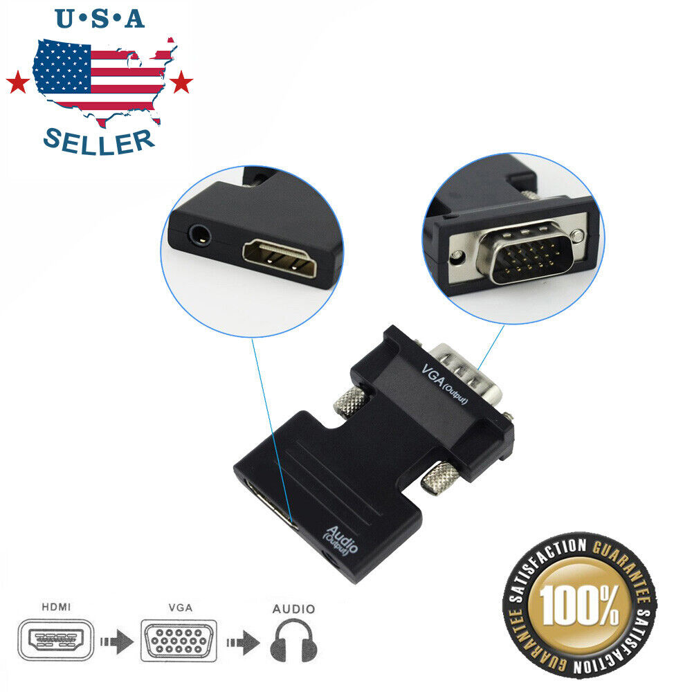 Hdmi Female To Vga Male Converter With Audio Adapter