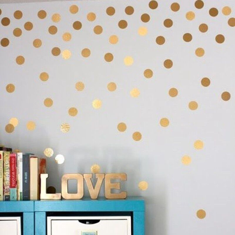 fashion set of 52 40 20 18 gold circle decal polka dot vinyl living wall sticker ebay. Black Bedroom Furniture Sets. Home Design Ideas