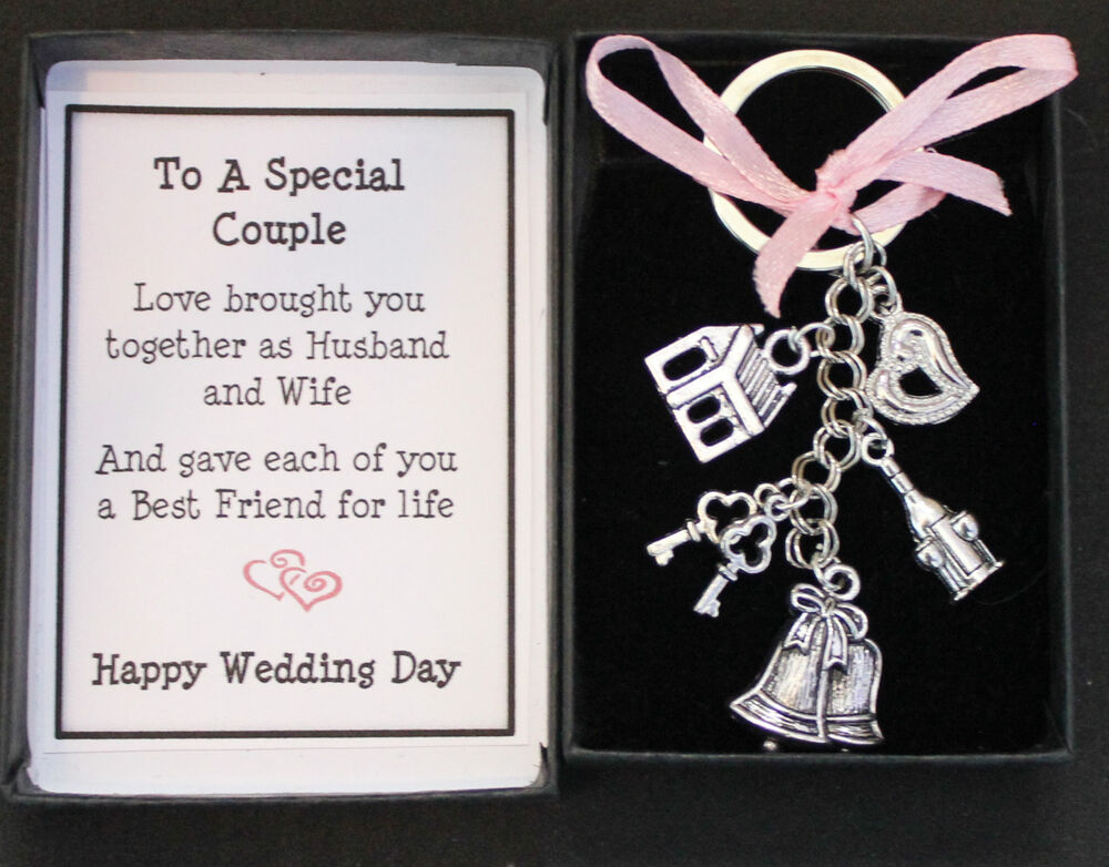 WEDDING DAY GIFT KEYRING KEEPSAKE, FOR BRIDE AND GROOM