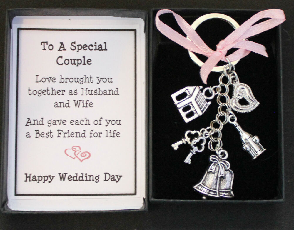 WEDDING DAY GIFT KEYRING KEEPSAKE FOR BRIDE AND GROOM BOXED WITH MESSAGE