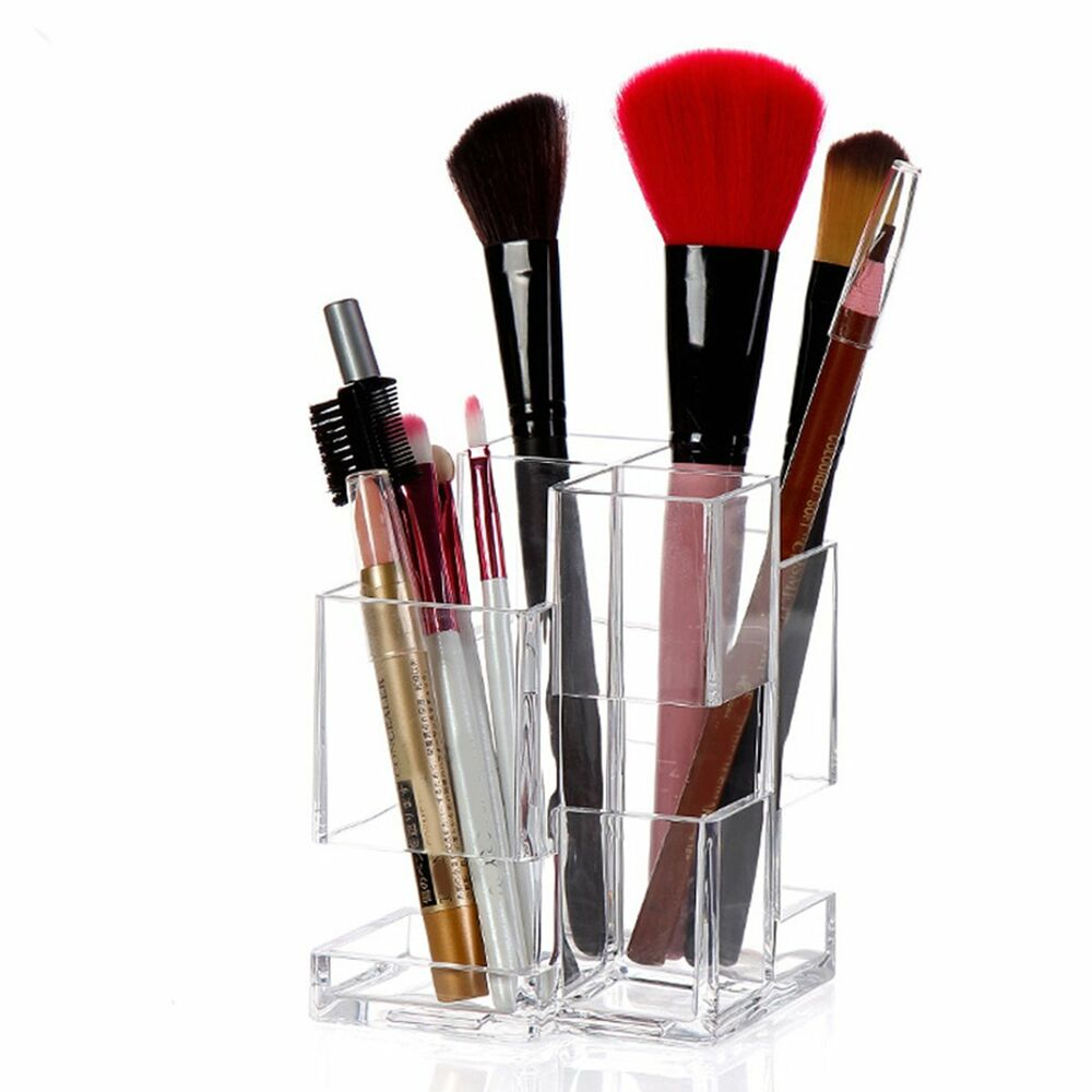acrylic clear cosmetic organizer makeup case lipstick brush display holder stand ebay. Black Bedroom Furniture Sets. Home Design Ideas