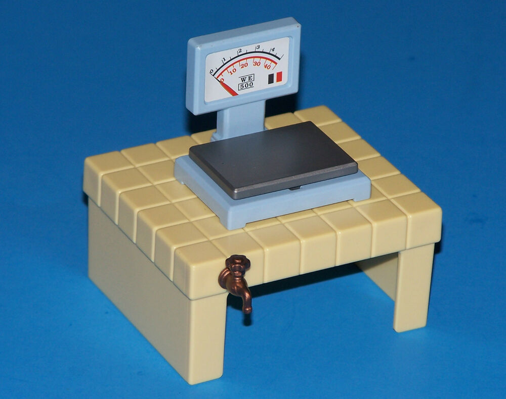 Vintage 1994 playmobil zoo 3634 weight scale table w for Table playmobil