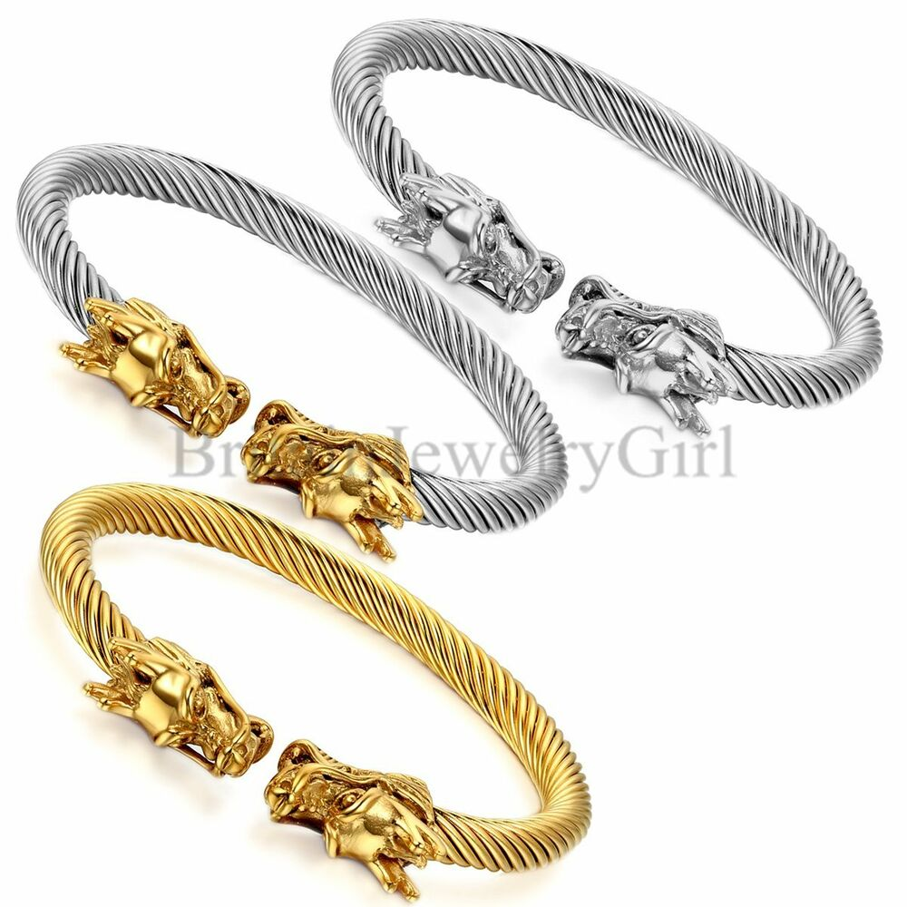 6mm mens dragon head open size cuff elastic twisted cable for Dragon gifts for men
