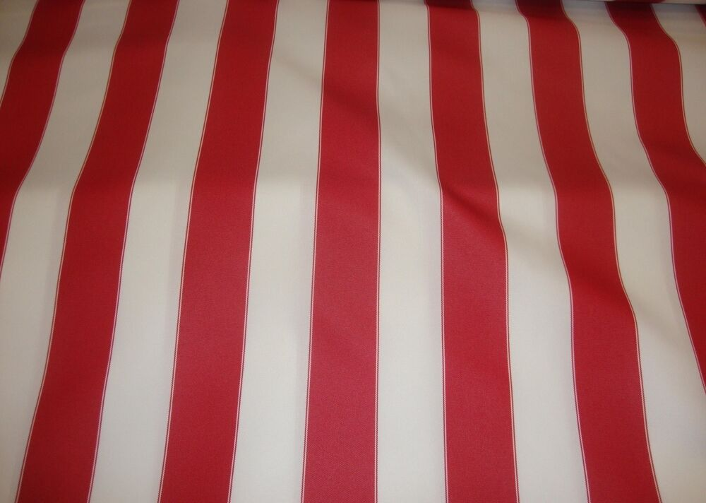 Outdoor Upholstery Waterproof Red White Striped Canvas