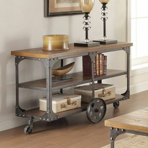 Vintage sofa table industrial reclaimed wood living room for Contemporary wood console tables