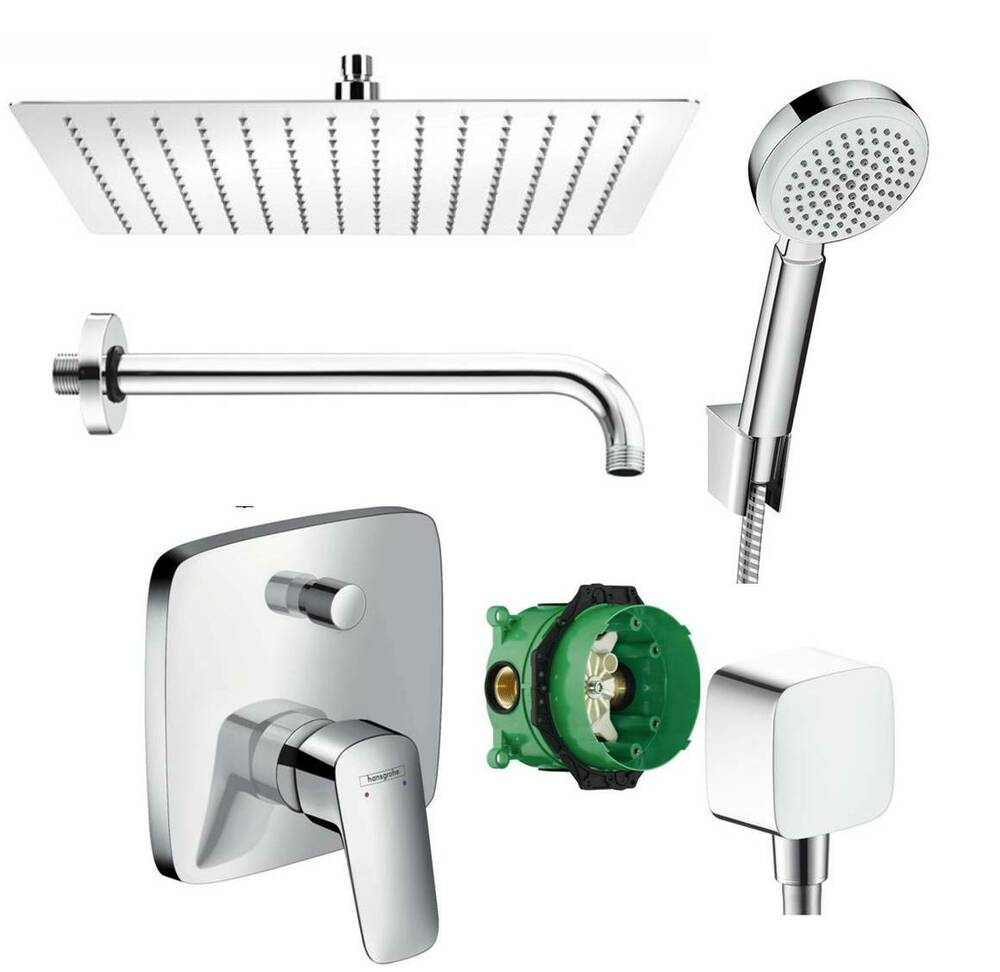 hansgrohe logis unterputz duscharmatur set ibox armatur duschteller 30x30 cm ebay. Black Bedroom Furniture Sets. Home Design Ideas