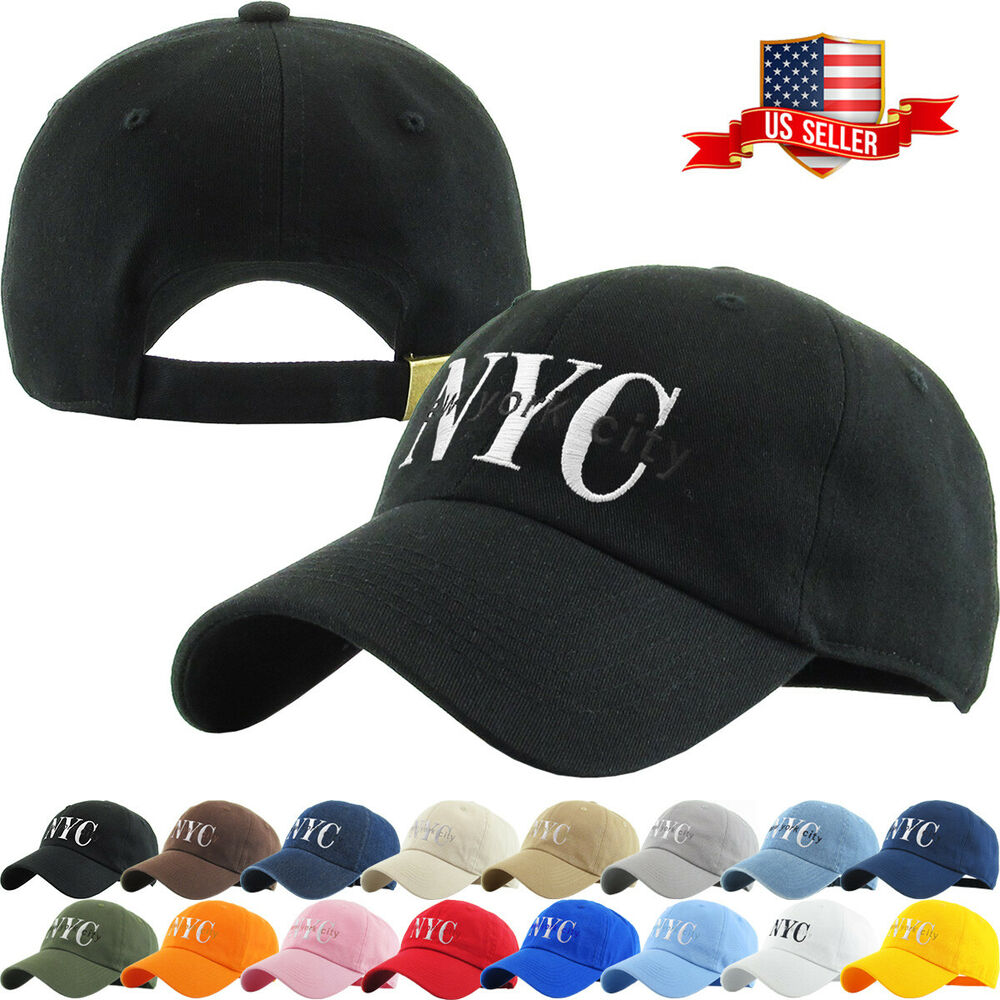 e174618ce0b Details about NYC New York City Washed Polo Style Baseball Ball Cap Hat  100% Cotton NEW