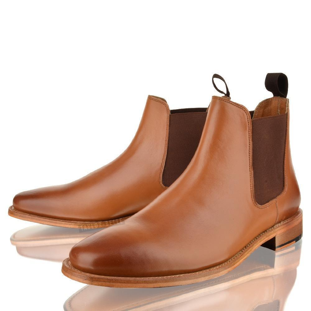 mens new leather slip on year welted sole chelsea