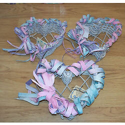 3 Decorative Pastel Painted Woven Wood Heart Shapd Baskets Martha's Craft Shop