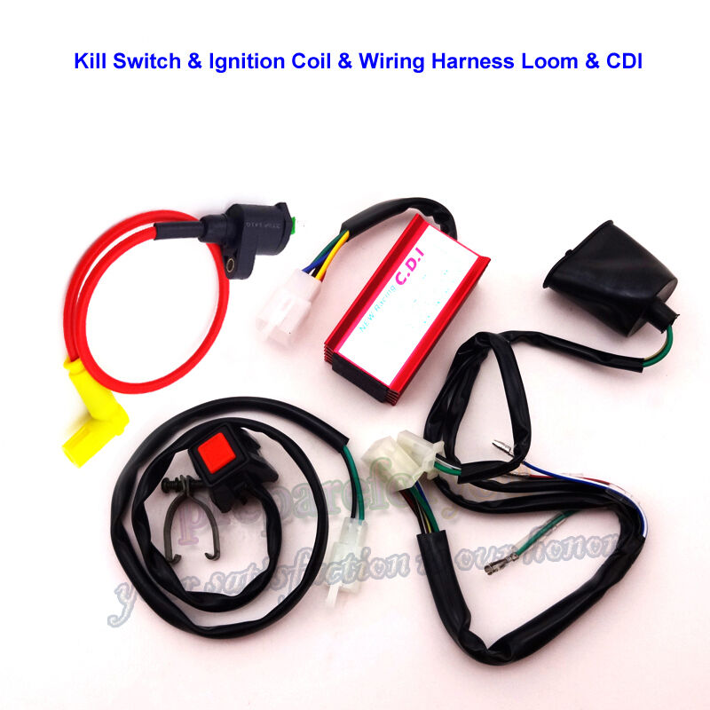 dirt pit bike racing ignition coil ac cdi box wiring loom harness kill switch ebay