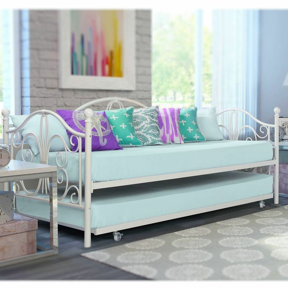 Off white iron metal daybed frame w trundle twin size bed White twin trundle bedroom set