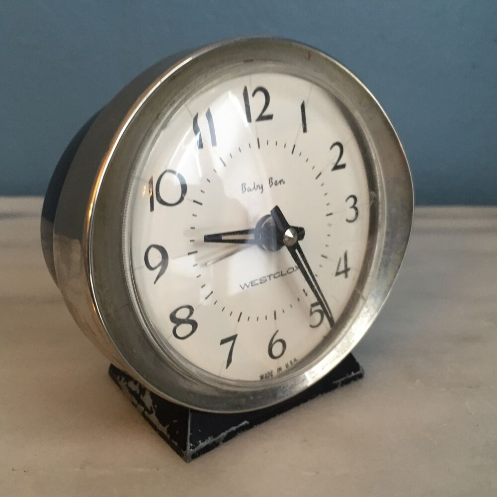 Vintage Westclox Baby Ben Wind Up Alarm Clock Desk Travel