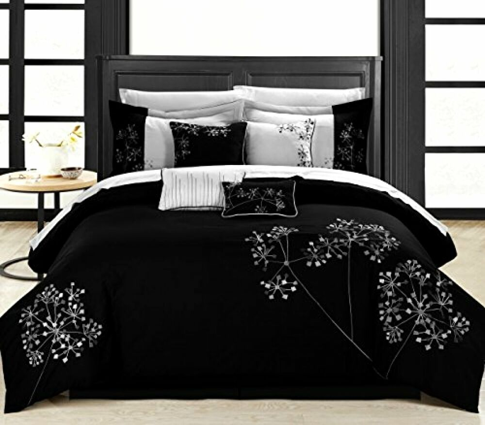 King Size Bedding Black Floral 8-piece Embroidered