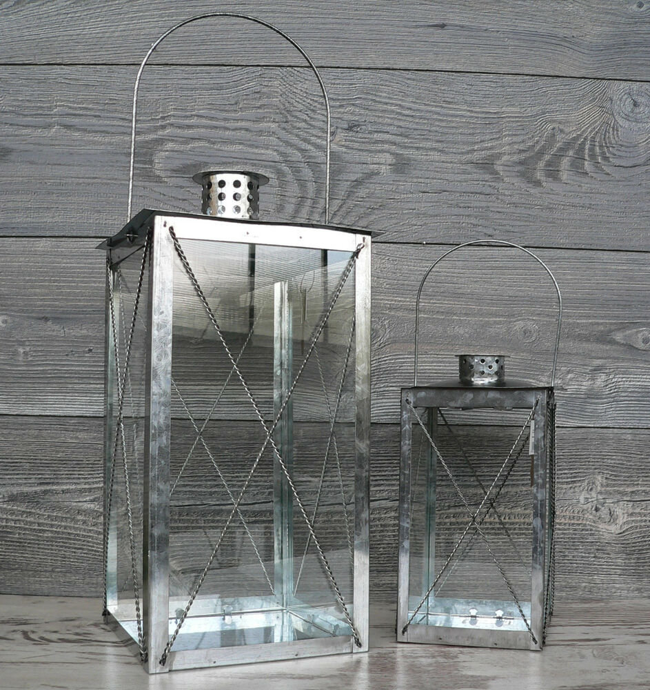 gro e laterne metall windlicht zink 25 od 40cm glas gartenlaterne silber modern ebay. Black Bedroom Furniture Sets. Home Design Ideas