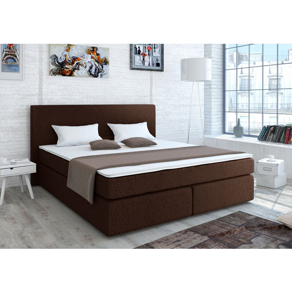 designer boxspringbett bett hotelbett polsterbett stoff braun 140x200 cm ebay. Black Bedroom Furniture Sets. Home Design Ideas