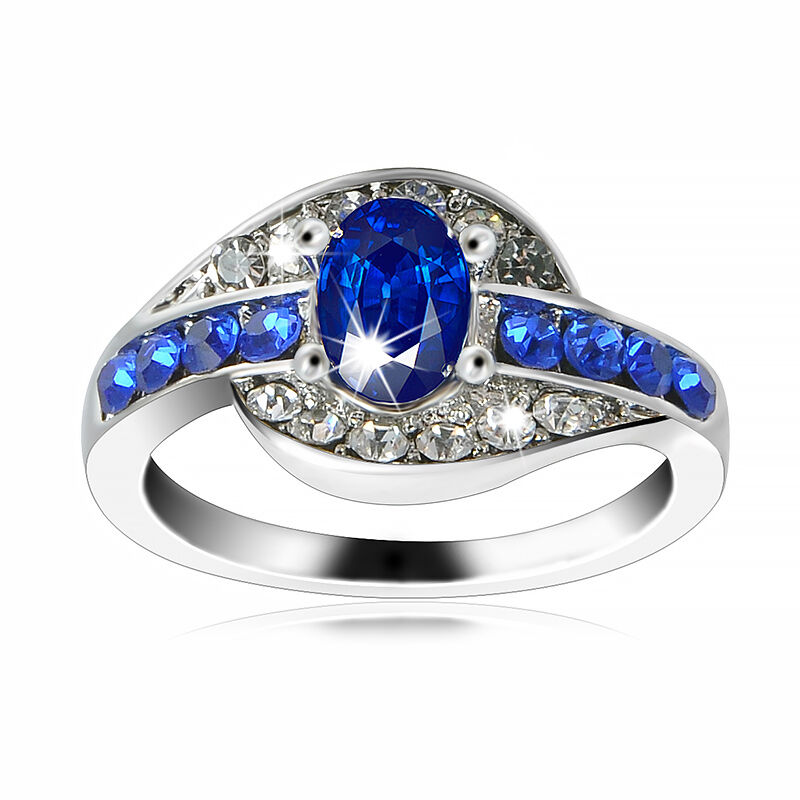 Women Blue Sapphire White Gold plated Engagement Ring Rings Jewelry Size 7 8