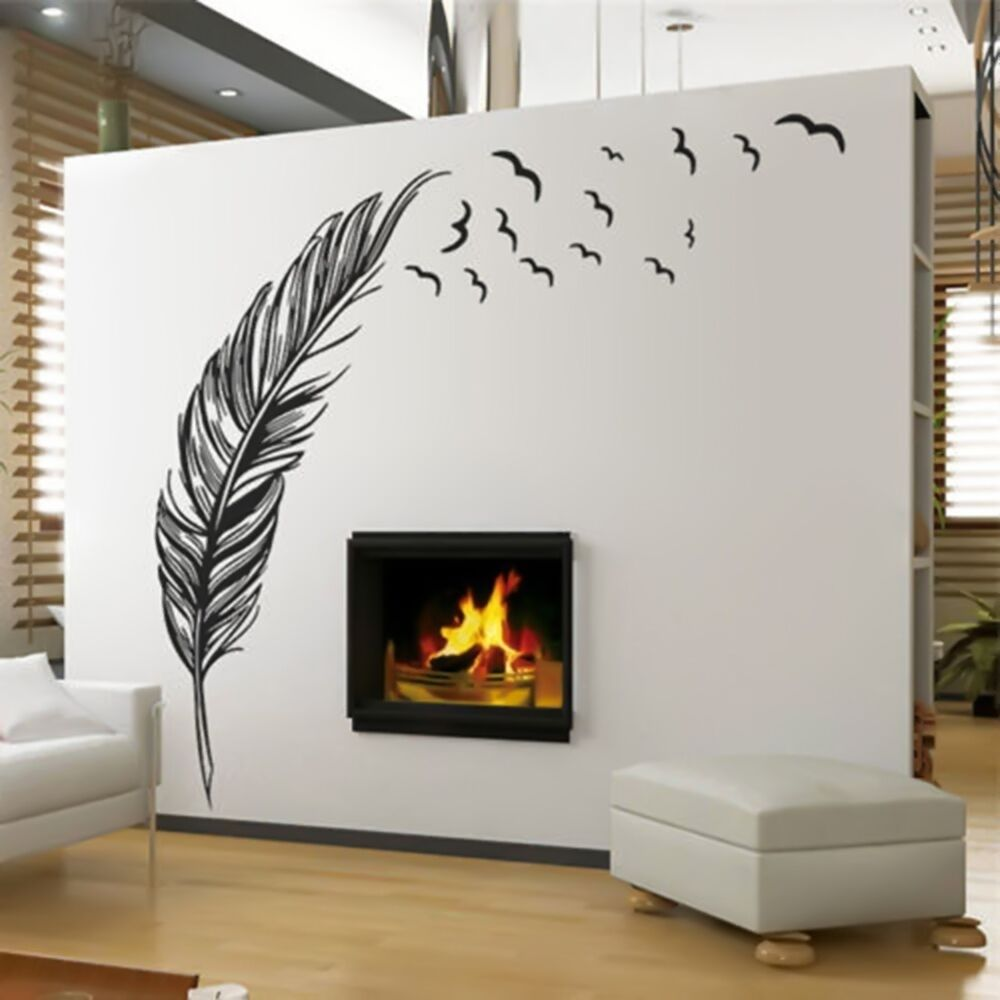 Birds flying feather removable wall sticker vinyl home for Decoration murale 4 murs